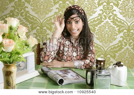 Cafe Retro Woman Kitchen Coffee With Magazine