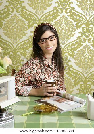 Cafe Retro Woman Kitchen Coffee With Magazine