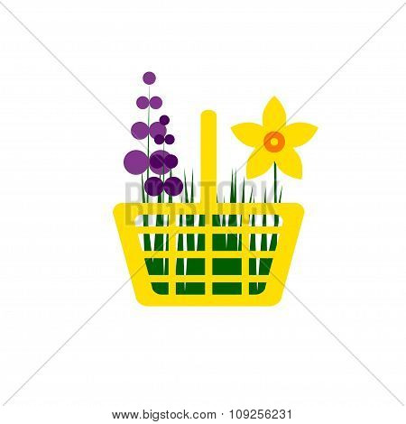 Yellow Shopping Cart With Spring Flowers