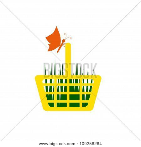 Yellow Shopping Cart With Grass And Butterfly