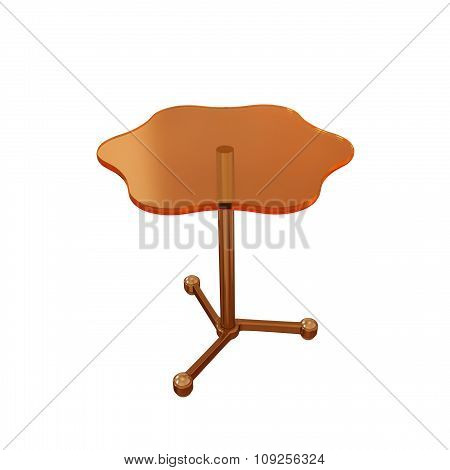 Table with a orange glass surface on the white