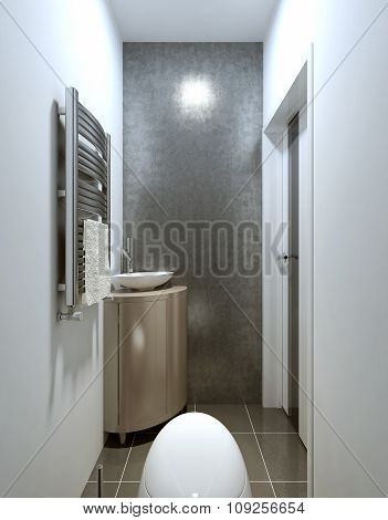 Modern Contemporary Style Toilet, Gray And Beige.