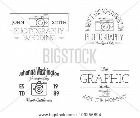 Vintage Photography studio Badges, Labels. Monochrome design with old cameras and elements. Retro st