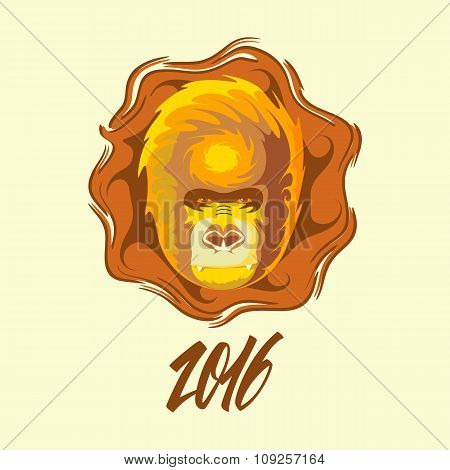 New Year symbol. 2016 year of the monkey.