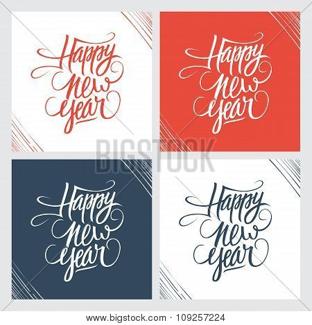 Happy new year hand drawn text design. Set of greeting cards.
