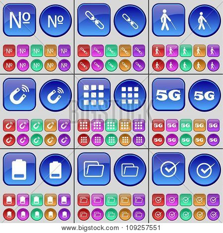 Number, Link, Silhouette, Magnet, Apps, 5G, Battery, Folder, Tick. A Large Set Of Multi-colored