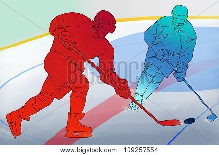 Two hockey players with sticks on ice