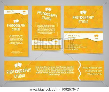 Modern light identity set. Business card, banner, flyer, poster templates photography studio or othe