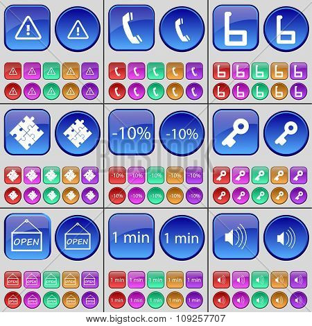 Warning, Receiver, Six, Puzzle, Discount, Key, Open, One Minute, Sound. A Large Set Of Multi-