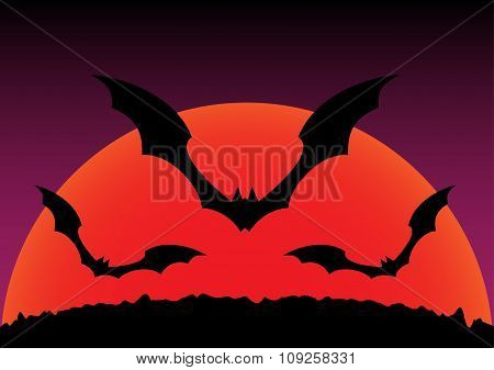 Silhouette Of Sunset And Flying Bats Halloween Background. Vector Illustration.