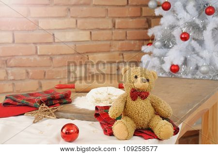 Christmas Background With Pastry For Home Cookies Decoration Toy And Teddy Bear On The Table
