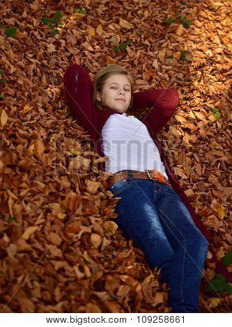 Little Girl In Autumn