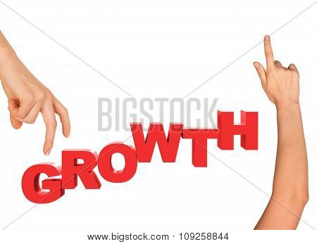 Womans fingers stepping on word growth