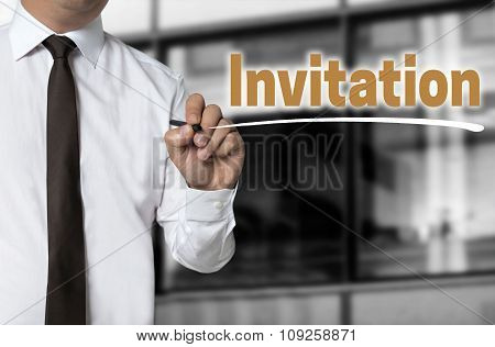 Invitation Is Written By Businessman Background Concept