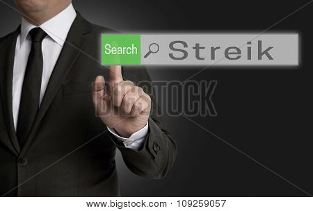 Streik Internet Browser Is Operated By Businessman Concept