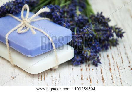 Bunch Of Lavender Flowers And Soap