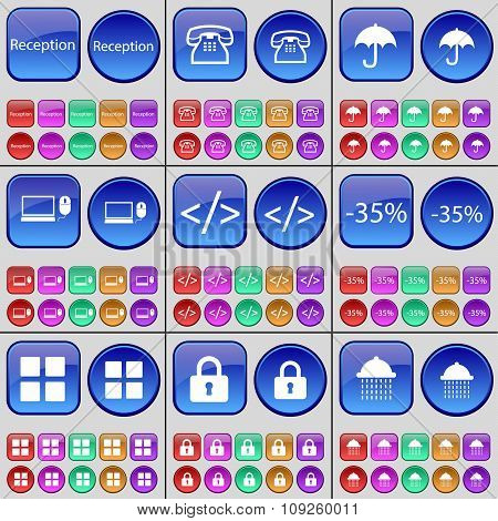 Reception, Retro Phone, Umbrella, Laptop, Code, Discoint, Apps, Lock, Shower. A Large Set Of Multi-