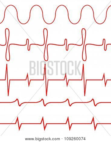Seamless set of lines heartbeat
