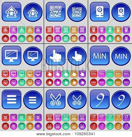 House, Qr-code, Speaker, Monitor, Hand, Min, Apps, Scissors, Nine. A Large Set Of Multi-colored