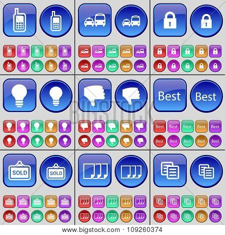 Mobile Phone, Transport, Transport, Lock, Light Bulb, Best, Sold, Files, Copy. A Large Set Of