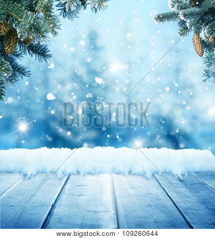 christmas background with wooden planks