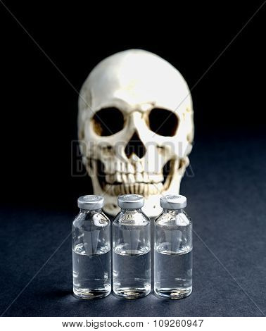 Skull And Medical Vials