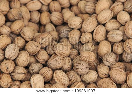 Close Up Of A Group Of Walnuts