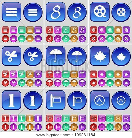 Apps, Eight, Videotape, Scissors, Umbrella, Maple Leaf, One, Sign, Arrow Up. A Large Set Of