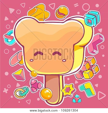 Vector Colorful Illustration Of Orange Ice Cream Bear On Pink Background With Abstract Elements.