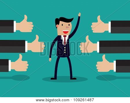 Vector illustration of a successful businessman
