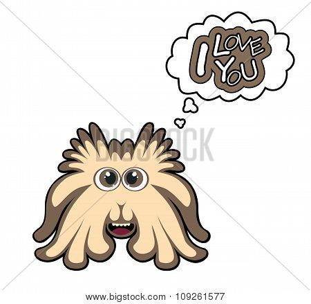 Cartoon Monster With I Love You Text