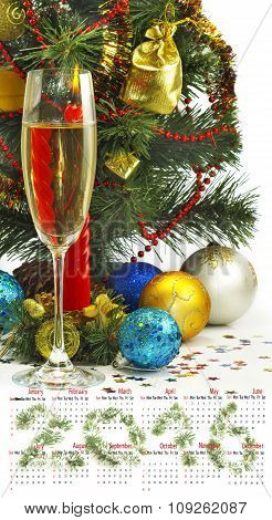 Calendar 2016. Image Of Christmas Decorations And Champagne Glasses