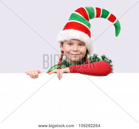 Girl - Santa's elf with the banner