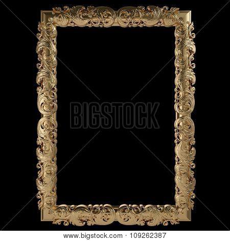 Gold Frame. Isolated Over Black Background