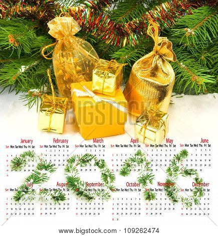 Calendar 2016. Image Of Christmas Decorations