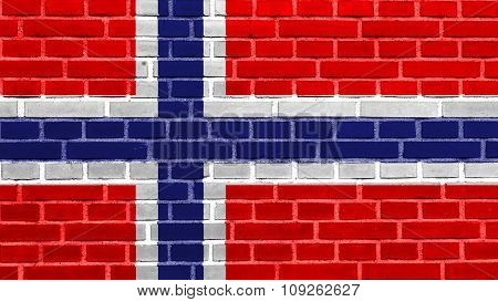 Flag of Norway, Norwegian flag painted on brick wall