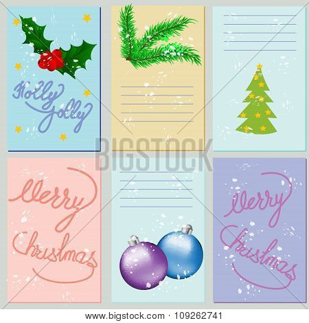 Collection Of 6 Christmas Card Templates. Christmas Posters Set. Vector Illustration. Template For G