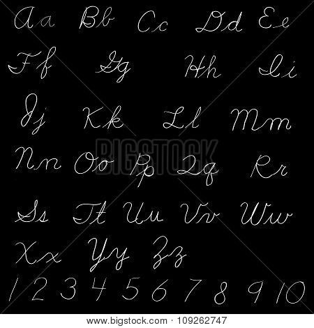 Handwritten English Alphabet - Lettering Of Letters, White On A Black Background