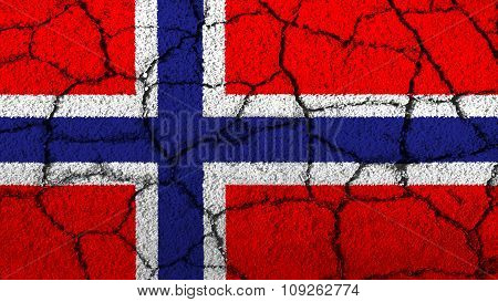 Flag of Norway, Norwegian flag painted on cracked ground