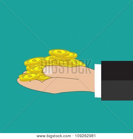 Flat background with hand and money.