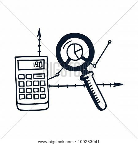 Hand drawn vector illustration icon of analysis