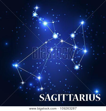 Symbol. Sagittarius Zodiac Sing. Vector Illustration