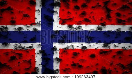 Flag of Norway, Norwegian flag painted on wall with bullet holes