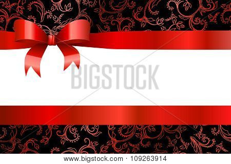 Background pattern flowers red black with bow vector