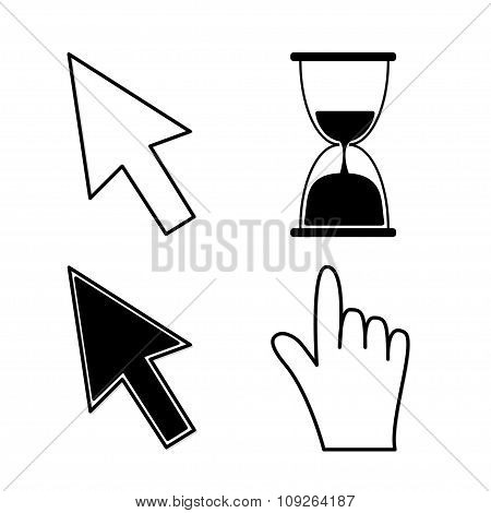 Mouse Hand Arrows And Hourglass. Black Color. Isolated