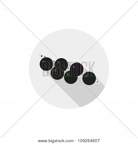 Isolated Flat Icon Of Vegetarian Eating Berries On A White Background. Ripe Acai Berries. Vector