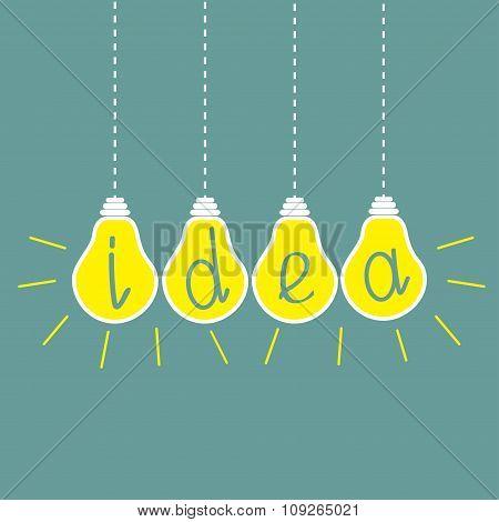 Four Hanging Yellow Light Bulbs. Idea Concept.