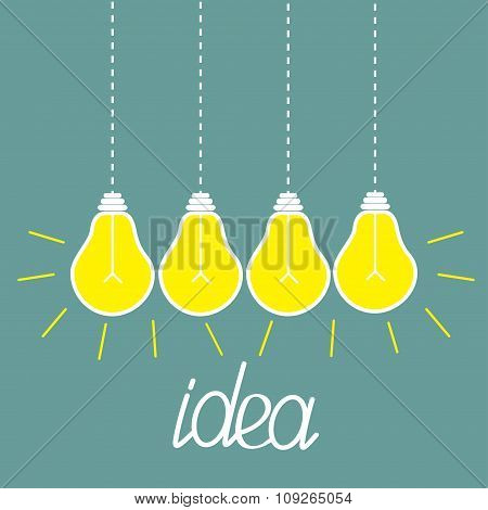 Hanging Yellow Light Bulbs. Idea Concept.