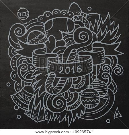 2016 New year doodles elements background. Vector chalkboard