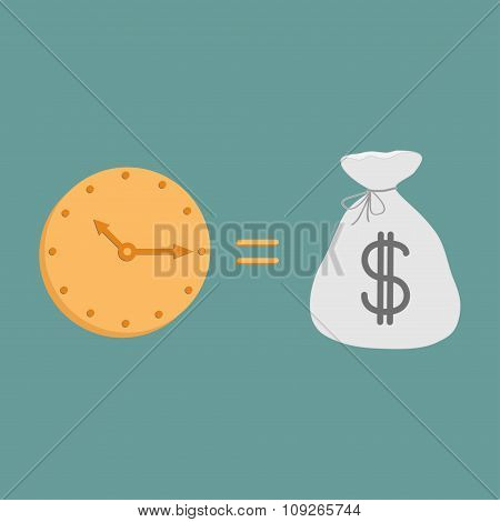Clock And Dollar Bag.  Icons. Time Is Money.